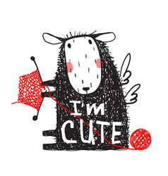 i am cute sheep print with sign vector image vector image