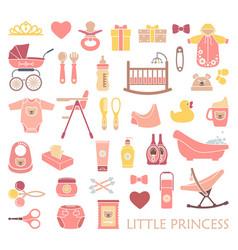 newborn girl icons vector image