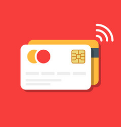 Plastic bank or credit card with a wireless vector
