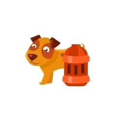 Puppy Next To Vintage Red Lantern vector image