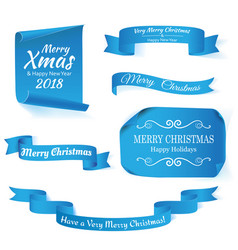 set of six blue merry christmas realistic paper vector image