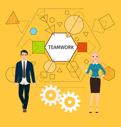 teamwork concept with business people vector image vector image