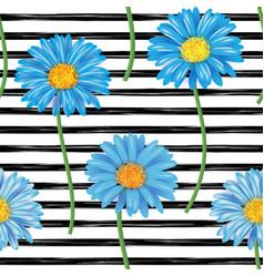 beautiful seamless pattern with blue gerbera vector image