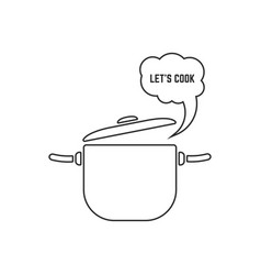 black linear pan with steam icon on white vector image