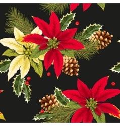 Christmas poincettia seamless vector