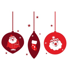 christmas retro decoration set vector image vector image