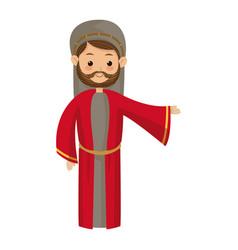 cute cartoon joseph father manger image vector image vector image