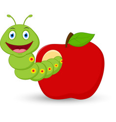 cute worm cartoon in the apple vector image vector image