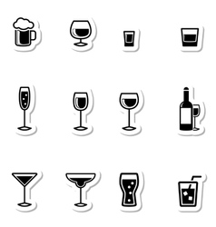 Drink Icons as Labels vector image vector image