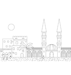Islamic outline cityscape with mosque and minaret vector image vector image