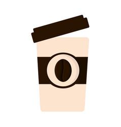 Paper cup coffee open cap vector