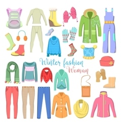 Woman Winter Clothes and Accessories Collection vector image
