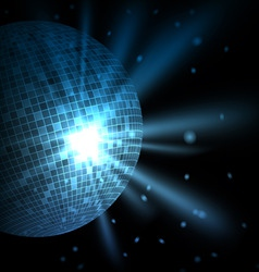 blue background with disco ball vector image