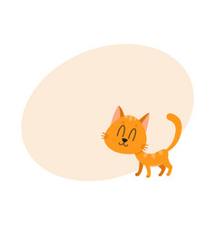 cute funny sweet red cat character eyes closed vector image vector image