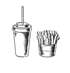 French fries and cold soda drink sketches vector image