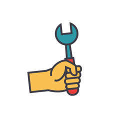 hand with screwdriver flat line vector image vector image