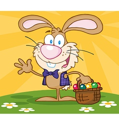 Happy Easter Bunny Carrying A Basket Of Eggs vector image vector image