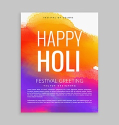 happy holi poster with colorful ink vector image