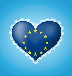 Heart shape flag of EU vector image vector image