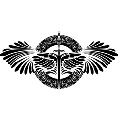 sword with wings on patterned circle vector image