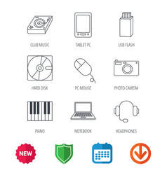 tablet pc usb flash and notebook laptop icons vector image vector image