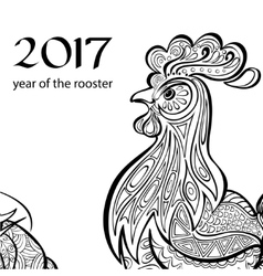 Year of the rooster Black and white image a in vector image vector image
