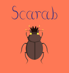 Flat on background bug scarab vector