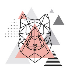 Geometric head of a wolf on a scandinavian vector