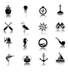Nautical icons set black vector image