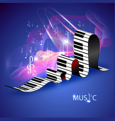 piano keys and abstract lines vector image