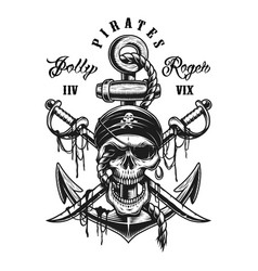pirate skull emblem with swords anchor vector image