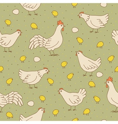 Seamless texture with cocks hens and chicks vector image
