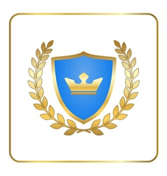 Shield gold laurel wreath icon crown white vector image