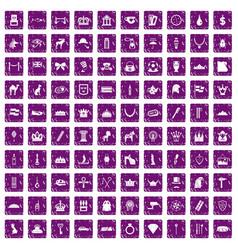 100 crown icons set grunge purple vector