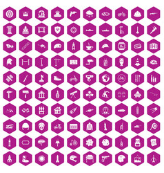 100 helmet icons hexagon violet vector