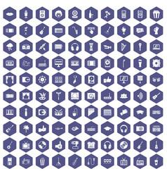 100 karaoke icons hexagon purple vector