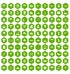 100 rain icons hexagon green vector