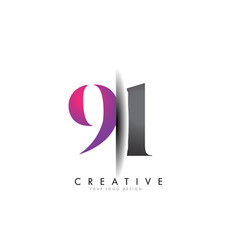 91 9 1 grey and pink number logo with creative vector image