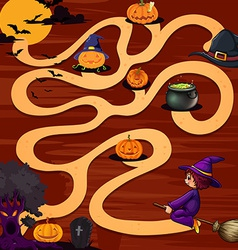 A halloween maze game vector image