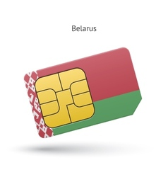 Belarus mobile phone sim card with flag vector image