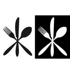 Black and white cutlery icons vector image