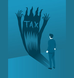businessman facing tax evil concept brave vector image