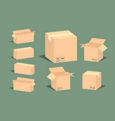 Carton delivery packaging open and closed box with vector