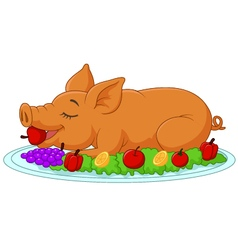 Cartoon drilled suckling pig on a plate vector