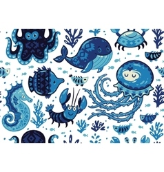 Cartoon seamless pattern with sea live vector