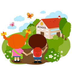 children out their school vector image