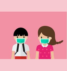 Children wearing medical masks vector