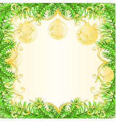 christmas and new year frame christmas tree and vector image