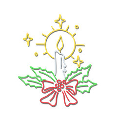 Christmas candle wreath neon sign vector
