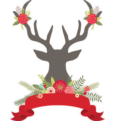 Christmas Deer Antlers with FlowersBanner set vector image